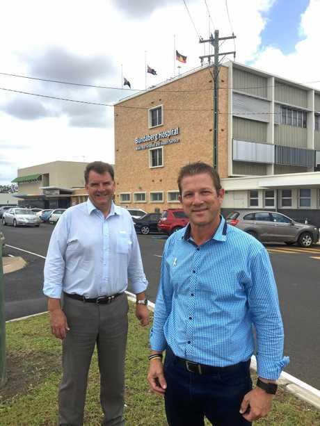 THE LNP has promises a masterplan for a new Bundaberg Hospital. Pictured is Member for Burnett Stephen Bennett and LNP candidate for Bundaberg David Batt.