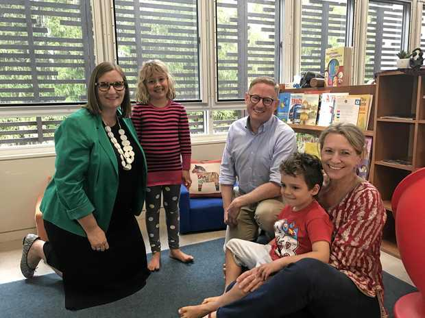 GRANTS: Minister for Early Childhood Education Sarah Mitchell and Parliamentary Secretary for Northern NSW Ben Franklin with preschool students Reese Bull and Oliver Wilson, and Byron Bay Preschool Director Victoria Hendley*
