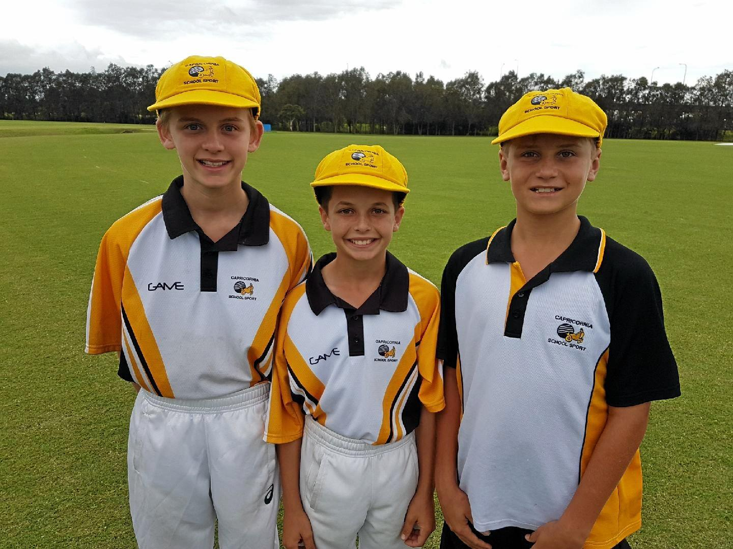 TALENTED: Gladstone players Will Raffin, Lachlan Wembridge and Kori Ramsden represented Capricornia at the Queensland Under-13 State Cricket Championships.