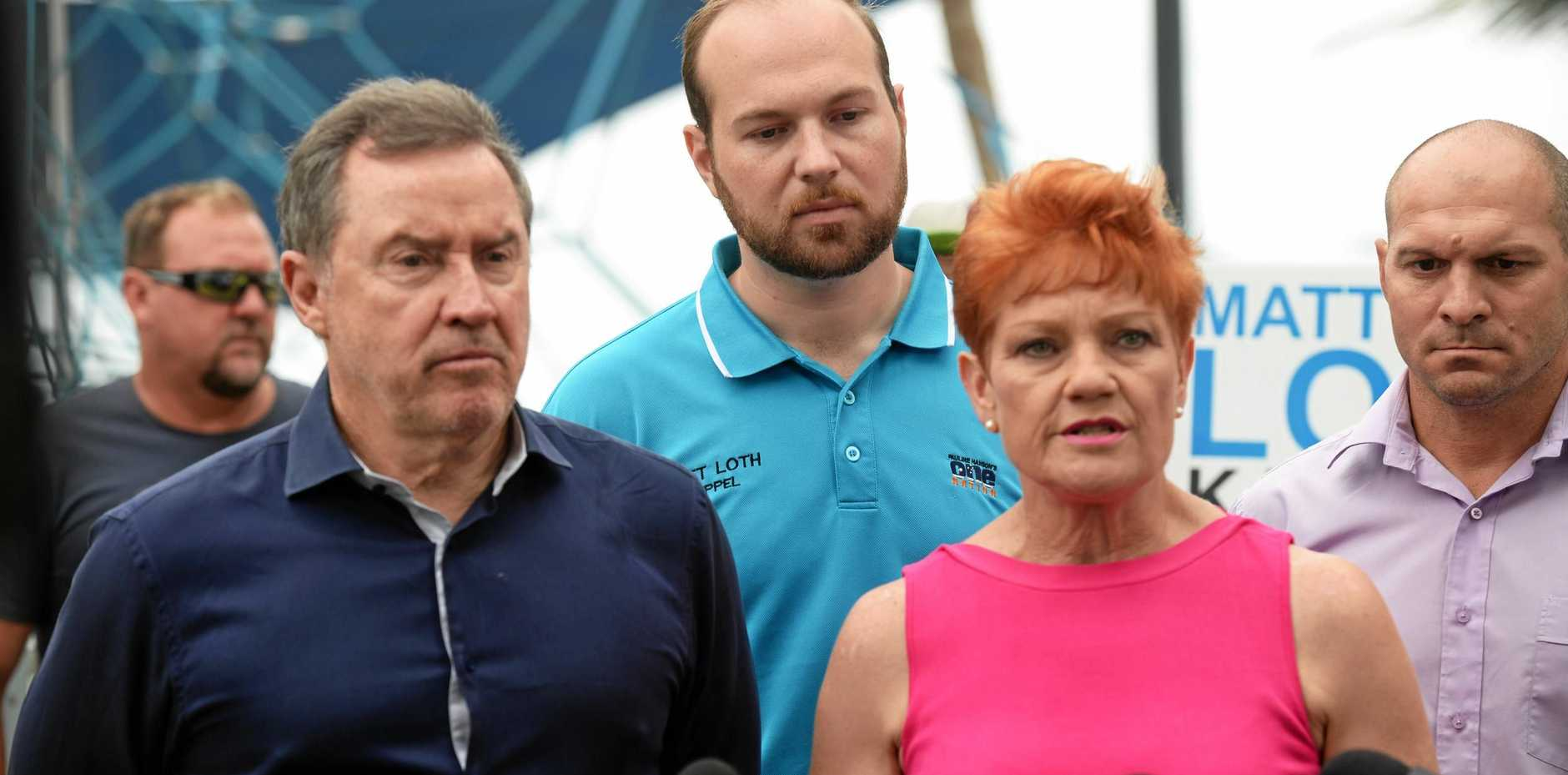 Pauline Hanson addresses media in Yeppoon. Ms Hanson is flanked by, from left, Terry Agnew, of Tower Holdings, One Nation Keppel candidate Matt Loth and One Nation Rockhampton candidate Wade Rothery.