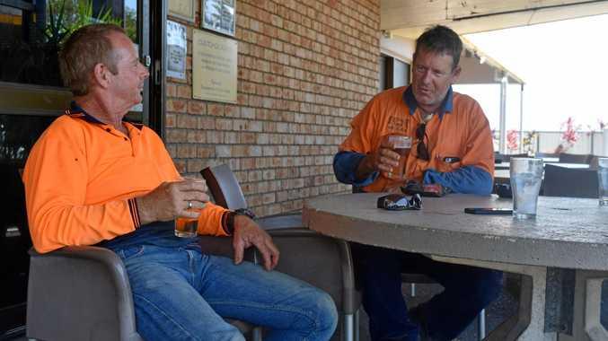 STRAIGHT TALK: Mark Murray and Ian Baker talk politics at the Boomerang Hotel.