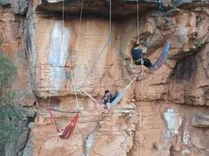 Sleeping suspended off a cliff