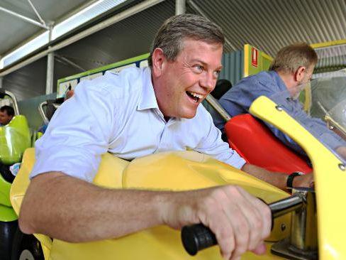 LNP Leader Tim Nicholls enjoying a ride at Dreamworld. Pic Annette Dew