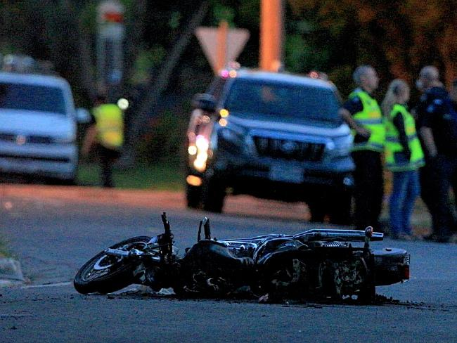 A motorcycle belonging to the victim of a hit-run. Picture: Mark Stewart