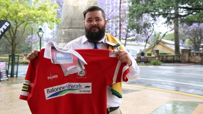 Prop Cam Knights shows off the Stockman's jersey. Picture: Meggie Whitchurch