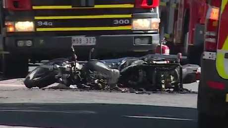 The motorcyclist was taken to hospital in a critical condition. Picture: Channel 9