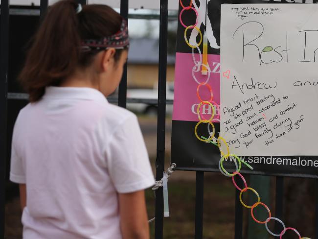 Tributes left at the Greenacre school today. Picture: John Grainger