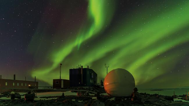 The aurora australis at Davis Station in Antarctica