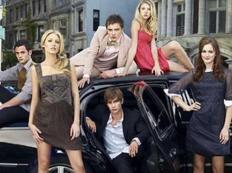 The cast of Gossip Girl Backrow (l-r): Penn Badgley, Ed Westwick, Taylor Momsen. Front row (l-r): Blake Lively, Chace Crawford, Leighton Meester. Picture: Supplied