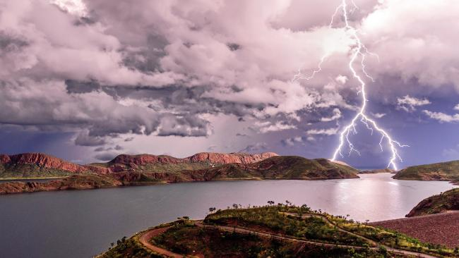 Lightning over Lake Argyle in the Kimberley, Western Australia. Picture: Ben Broady
