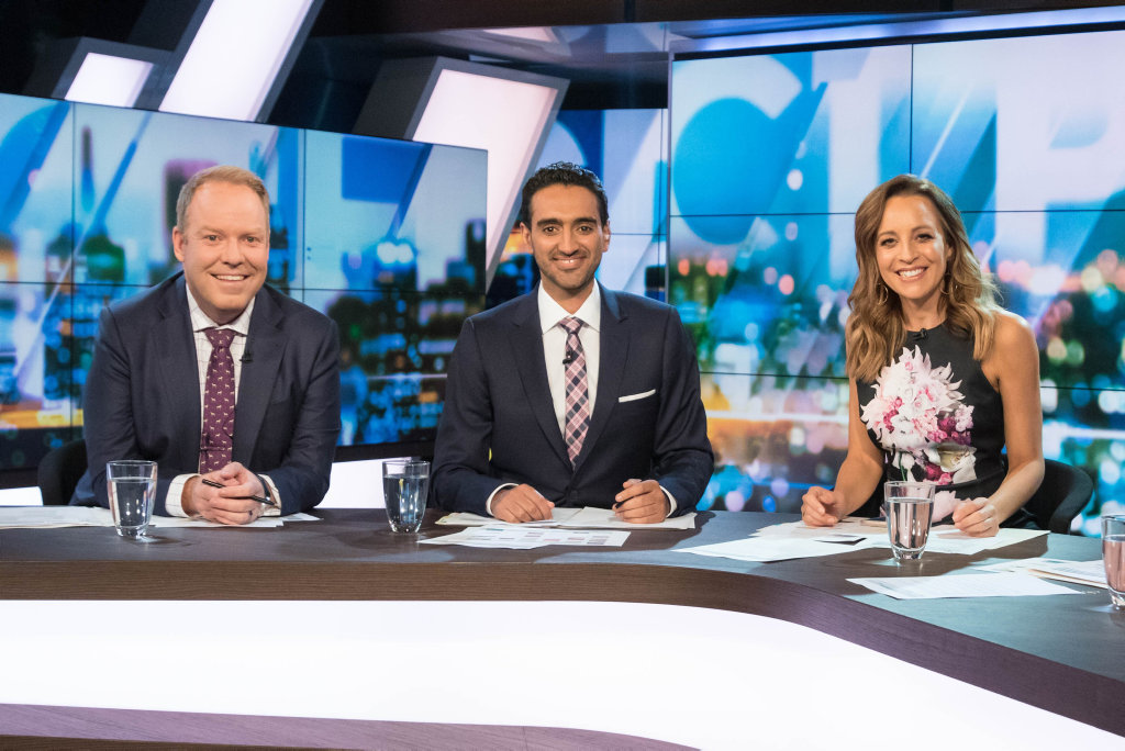 The Project's hosts Peter Helliar, Waleed Aly and Carrie Bickmore.