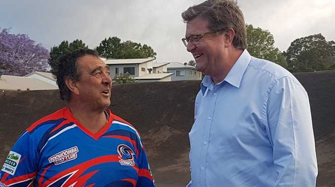 Toowoomba BMX Club's David Budden and LNP candidate for Toowoomba North Trevor Watts.