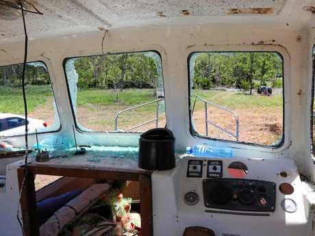 Damage to Joe Hawkes' boat on Paluma Rd.