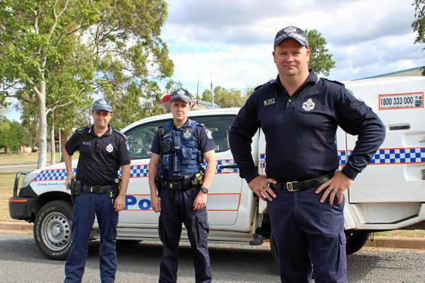 CRIME RISE: Blackwater police officer-in-charge Sergeant Rob Smith with Constable Andre Garbellotto and Constable Sean Mildred.