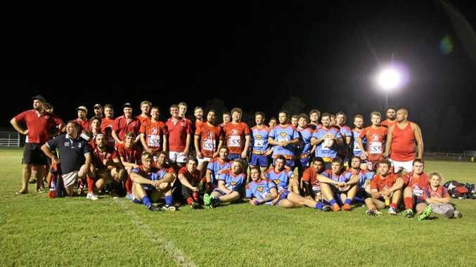 TITANS: Springsure Mountain Men and the Rolleston Roos after last year's league v union charity match in Springsure.