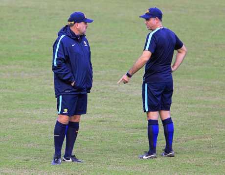 Socceroos coach Ange Postecoglou (left) speaks to his assitant Ante Milicic in San Pedro Sula.