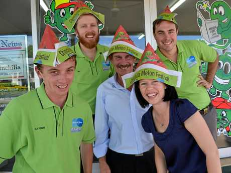 FOND FAREWELL: Chinchilla News staff (from left) Hayden Smith, Jim Campbell, Greg Latta, Liz Bradshaw and Alasdair Young model the special edition Chinchilla Melon Festival paper hats in 2015.