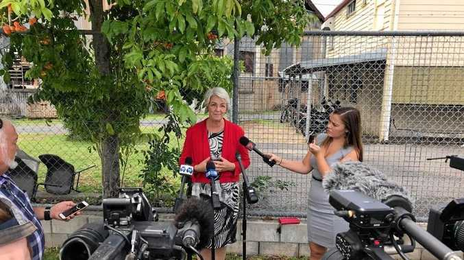 ANGRY RESPONSE: Independent candidate for Rockhampton Margaret Strelow addresses media regarding Labor's $10m manufacturing hub promise.