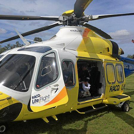 RESCUE: The RACQ LifeFlight Rescue helicopter flew the man to hospital.