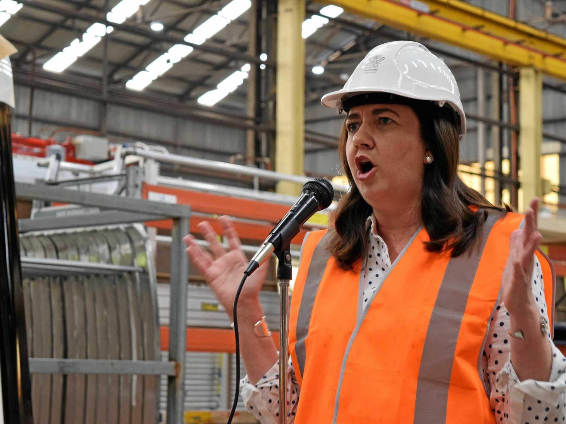 TRAIN REPAIRS: Premier Annastacia Palaszczuk visits the Downer Rail Factory to announce repairs to India-built trains will be carried out in Maryborough.