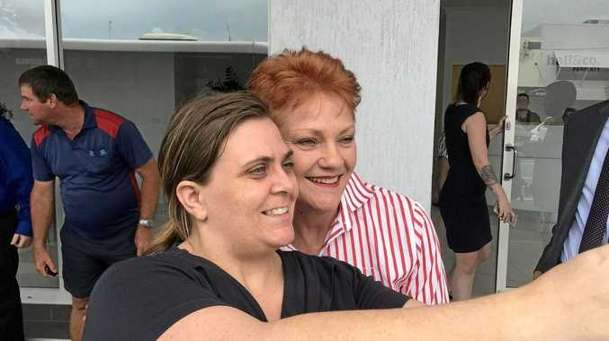 Pauline Hanson takes a selfie with a Mackay local.