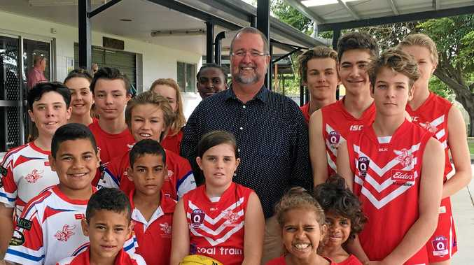 Keppel  LNP Candidate Peter Blundell with Swans AFL players.