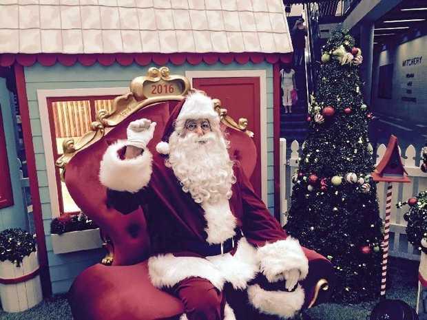 Santa arrives at Caneland Central on Sunday.