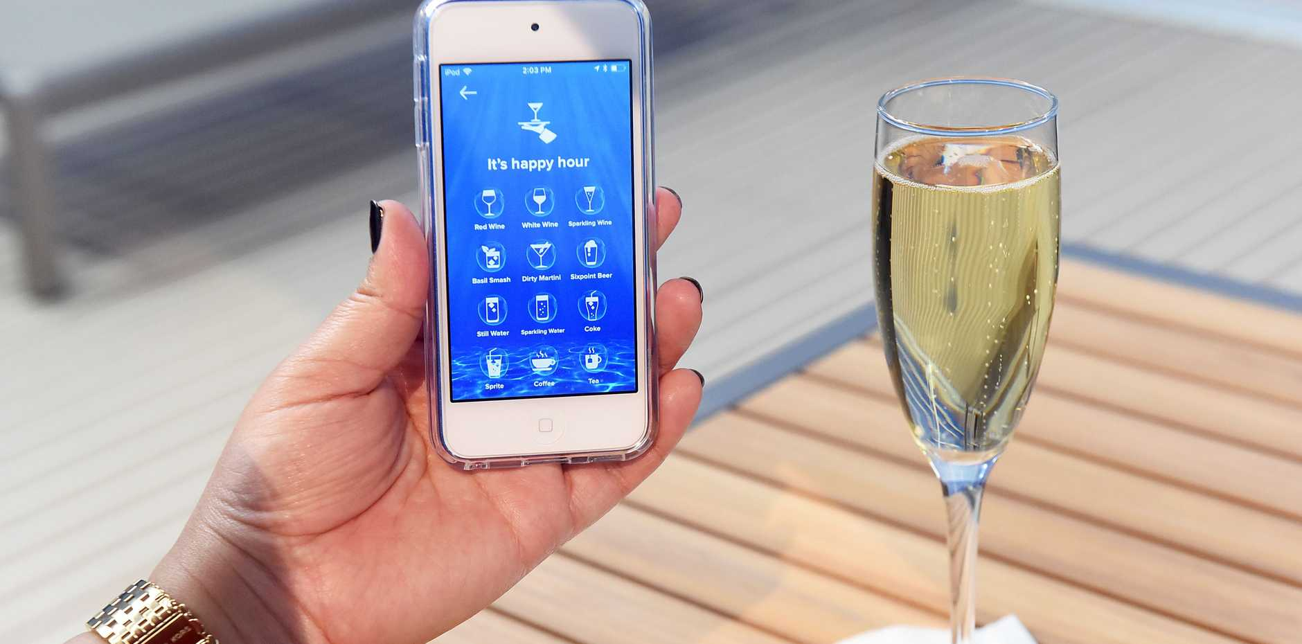 TECH SAVVY CARIBBEAN: A view of Royal Caribbean's future app which will let... guests order food and drink to be delivered to them anytime, anywhere on board.