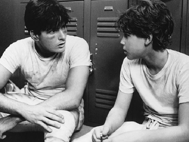 Charlie Sheen with Corey Haim in the 1986 movie Lucas, when the alleged rape occurred. Picture: Supplied