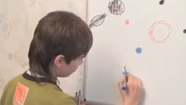 Boriska Kipriyanovich claims to be from Mars and scientists were reportedly baffled by his knowledge of planetary systems at such a young age. Picture: Project Camelot/YouTube