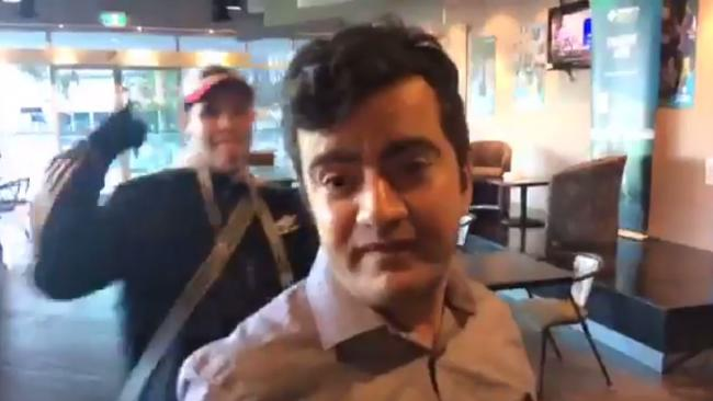 Sam Dastyari copped racist taunts in a Melbourne Pub in a video posted to Facebook by the far right group 'Patriot Blue'. Picture: Facebook