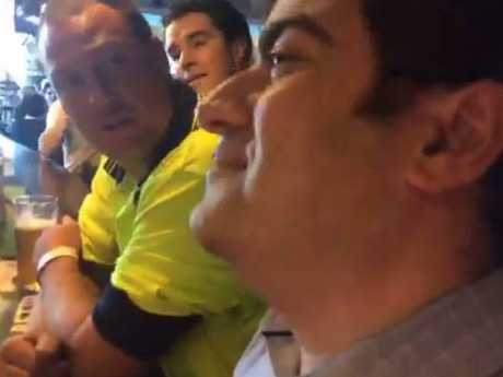 Sam Dastyari calmly handled taunts by members of right-wing group Patriot Blue at a Melbourne pub. Picture: Facebook