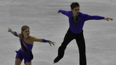 Ekaterina Alexandrovskaya (L) and Harley Windsor of Australia perform during the Junior Pairs Free Skating in Taipei earlier this year.