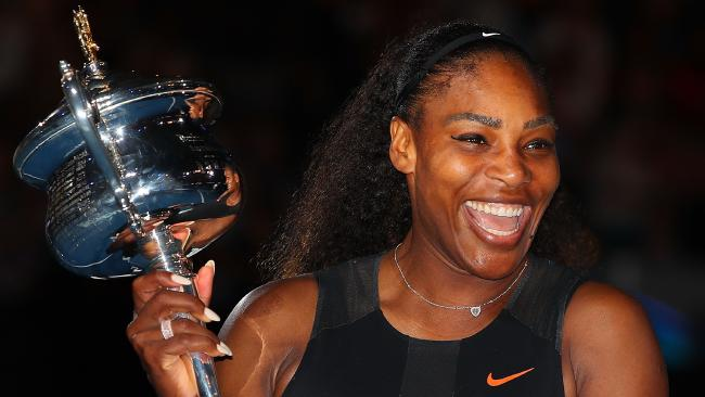 Serena Williams after winning the 2017 Australian Open.