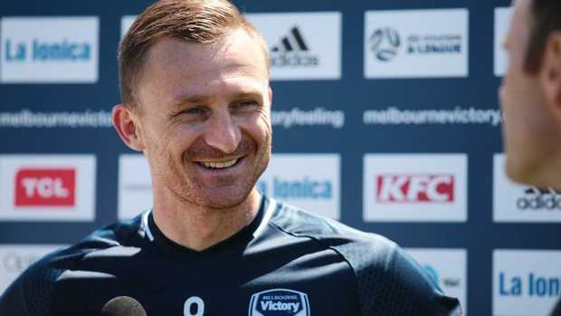 A smiling Besart Berisha speaks to the media at Victory training. Picture: AAP