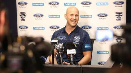 Gary Ablett fronts the media for the first time as a Geelong player since 2010. Picture: Alison Wynd