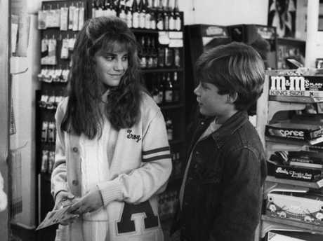 Kerri Green And Sean Astin in a scene from the film Goonies, in 1985.