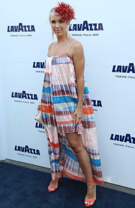 Bec Hewitt arrives at the Lavazza marquee for Oaks Day. Picture: Alex Coppel.
