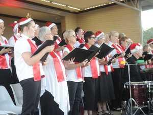 The chorus at the Carols In The Park at Memorial Park, Grafton