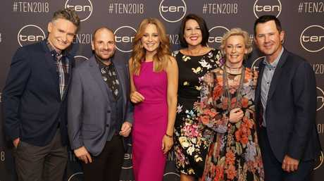 From left, Dave Hughes, George Calombaris, Carrie Bickmore, Julia Morris, Amanda Keller and Ricky Ponting at Channel 10's Upfronts event in Sydney.