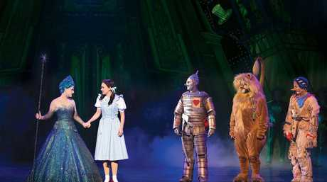 Lucy Durack, Samantha Dodemaide, Alex Rathgerber, John Xintavelonis and Eli Cooper in a scene from the musical The Wizard of Oz.