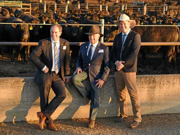 BIRTHDAY BASH: Managing director Lachie Hart, founder and chairman Robin Hart and Kerwee Feedlot managing director Steve Martin celebrate 60 years of the business on Tuesday.