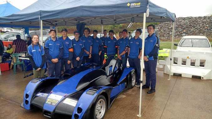FAST LANE: Maryborough SHS students assembled the Le Mans style prototype race car .