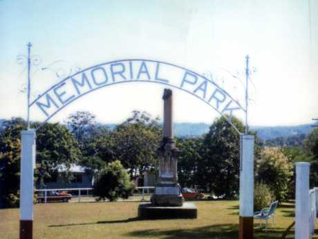 Memorial Park, Blackall Terrace, Woombye, ca 1990.  The land at the western end of Blackall Street was gazetted as a Memorial Park in 1921 and on June 18, 1925 the War Memorial was unveiled in the park by the then Governor of Queensland Sir Matthew Nathan.