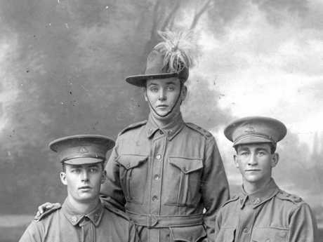 John Henry Potts, Arthur Lionel Best and Walter Gould Barrett Dyne pictured at Yandina prior to leaving for service overseas in 1915.