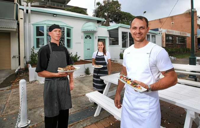 TASTY: Taverna owners Mark and Lia Wilson with head chef Ben Jones.