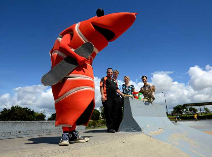 PJ Prawn is at the Ballina skate park ahead of the Ballina Prawn Festival with, from left, Alister Robertson and Phil Hilliard from the Ballina Fishermens Co-op, Joanna Wilkinson from Ballina Fair, and James Kelly from Macadamia Castle in 2015.