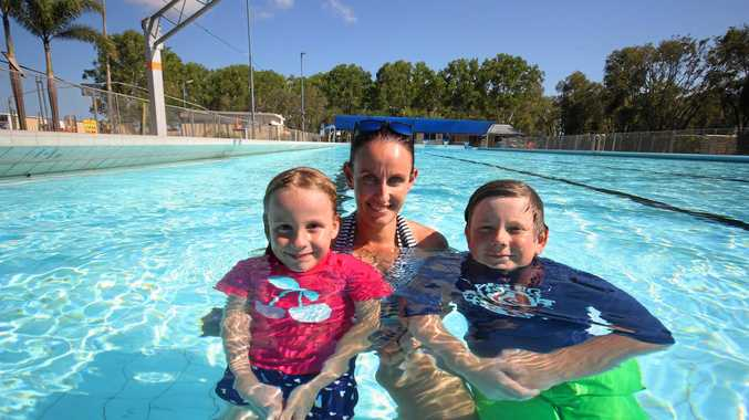 Savanah, Katrina and Sebastian Trenerry enjoying themselves at the Proserpine Pool.
