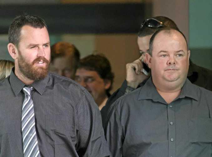 Steven Smith and Scott Conley leave the Brisbane Magistrates Court in Brisbane.