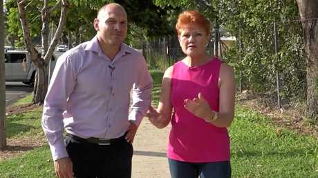 One Nation's Rockhampton candidate Wade Rothery with party leader Senator Pauline Hanson.